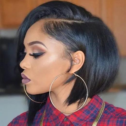Asymmetric Black Bob Haircut