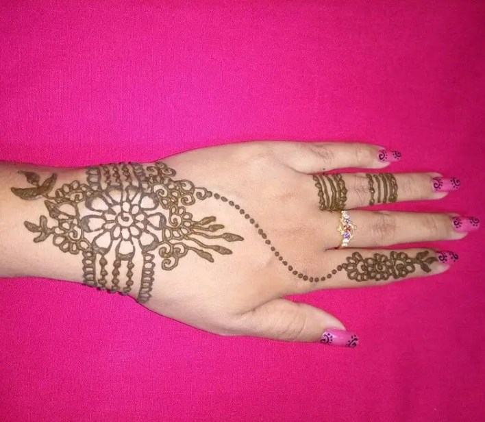 Ring Back Hand Mehndi