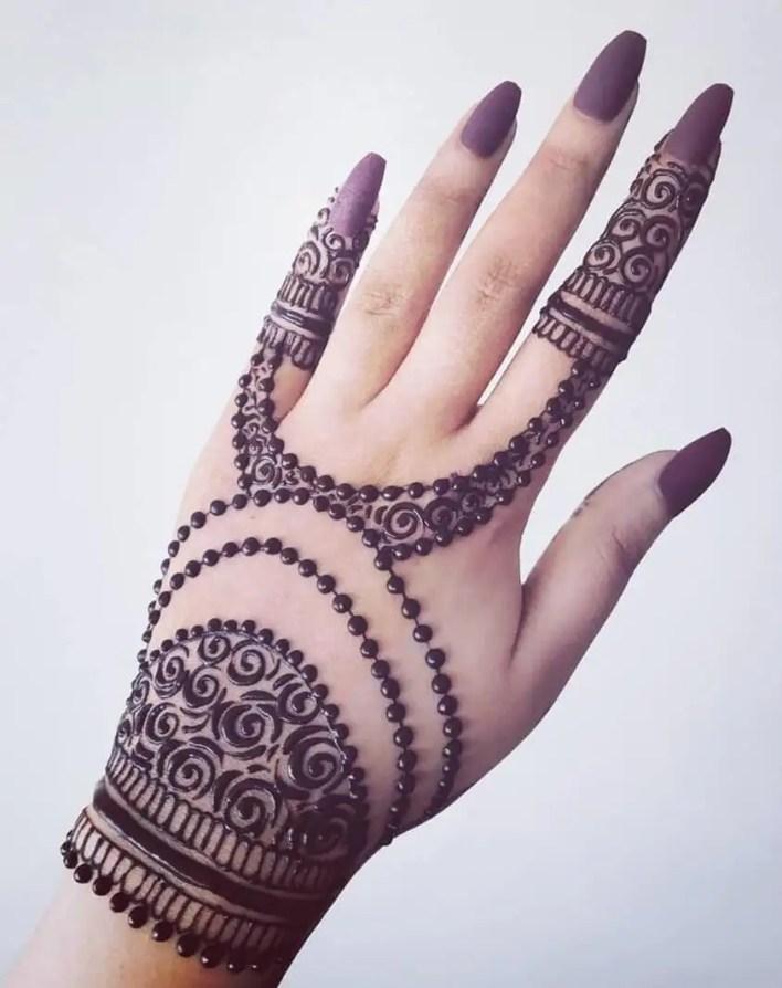 Modern Back Hand Mehndi Design