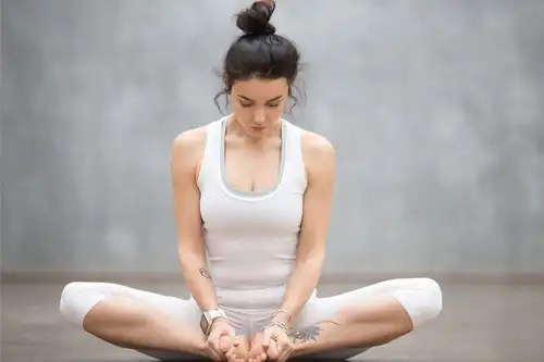 Baddhakonasana yoga pose for hypertension