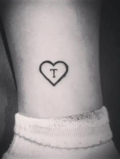T Letter Tattoo Inside A Heart