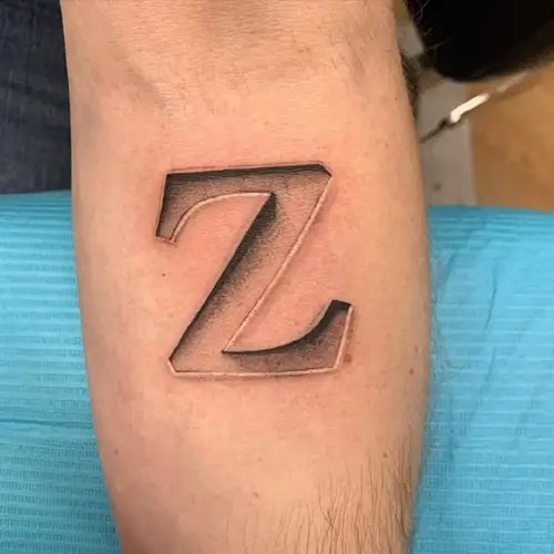 Z Letter Tattoo With 3d Effect