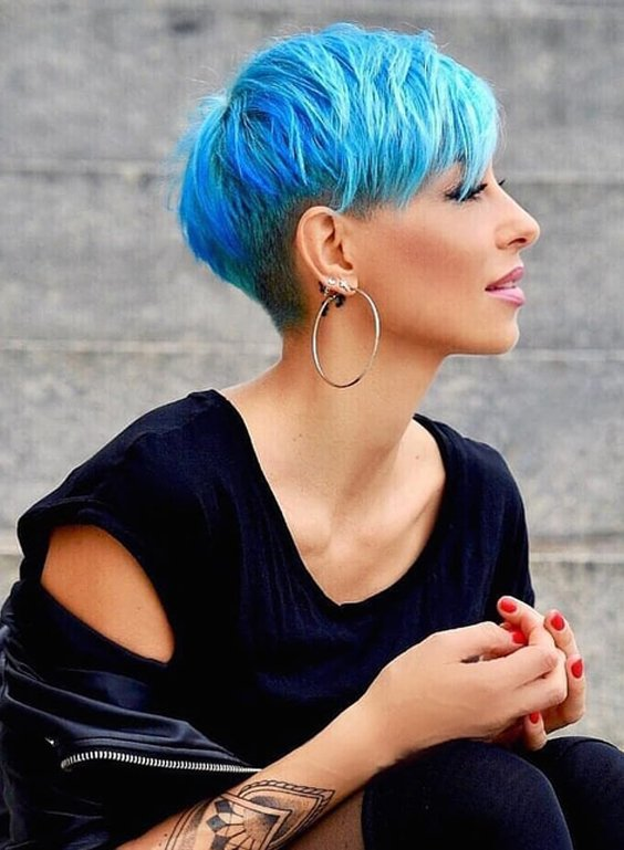 Short Blue Pixie Haircuts for Women 2018