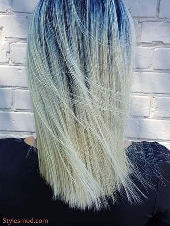 Medium Length Blue & Silver Hair Color Ideas