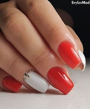 Classic Red & White Nail Art Styles & Design for 2018 Girls