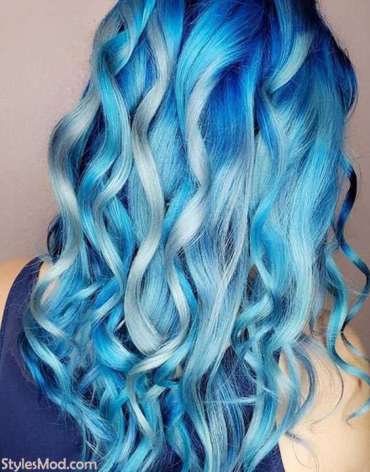 Ice Blonde Blue Hair Color Idea for Girls