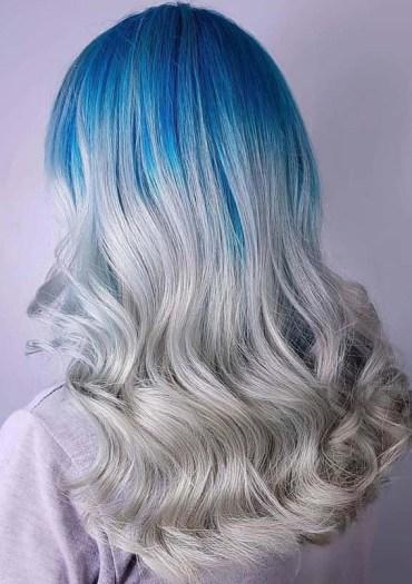 Silver Blue Hair Color Ideas in 2018