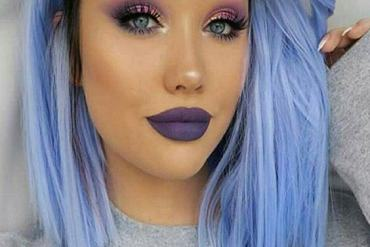 Blue Short Haircuts with Stunning Makeup Look for 2019