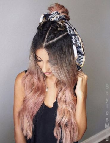 Dreamy Rose Gold Highlight with Braids Hairstyle for 2018