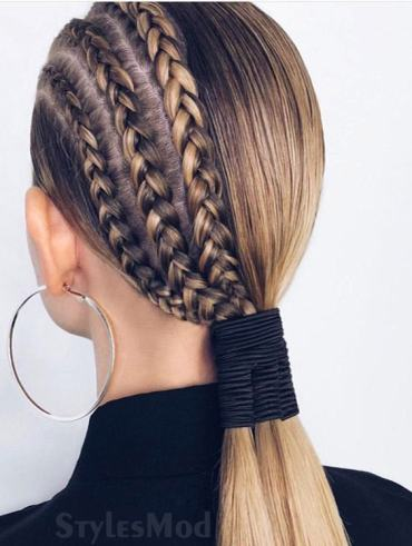 Sleek Ponytail & Half Braided Hairstyle Look for 2019