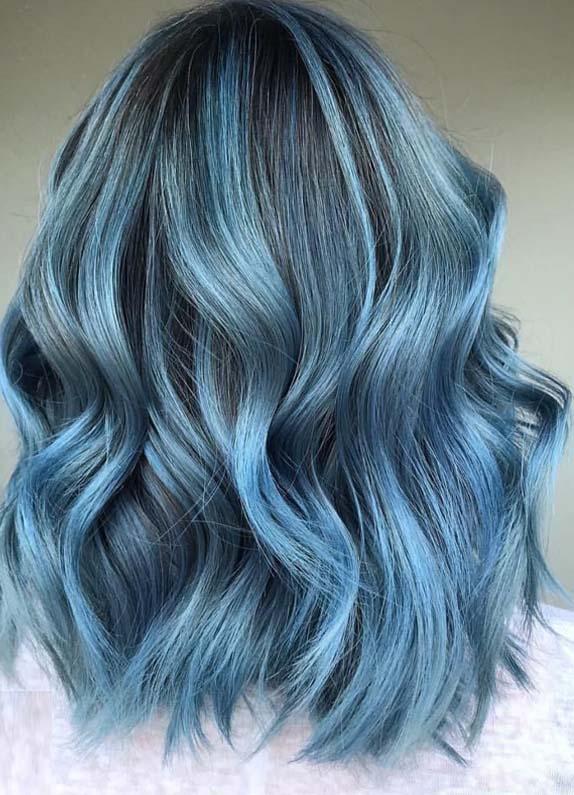 gorgeous smokey blue balayage hairstyles