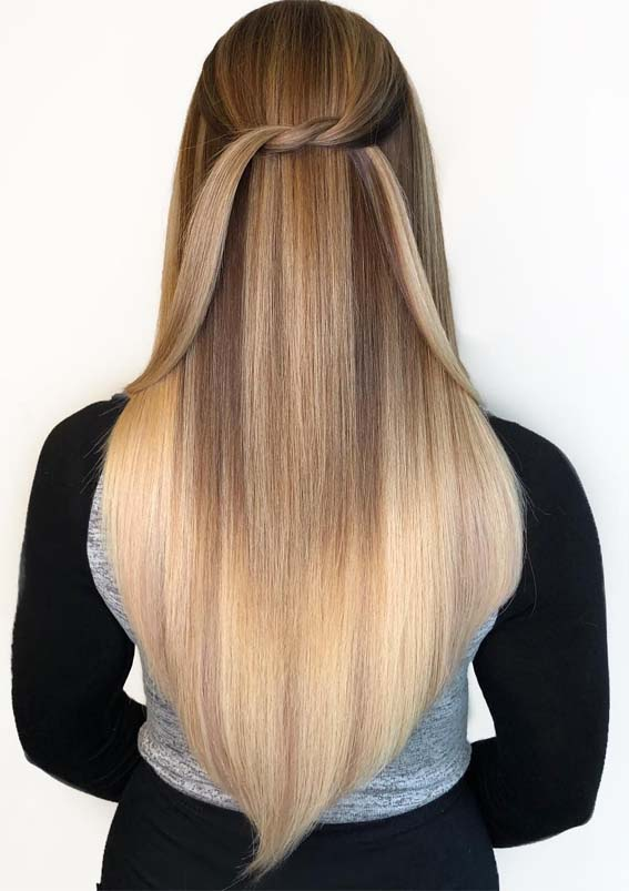 Blonde Balayage Knotted Long Hairstyles for 2019