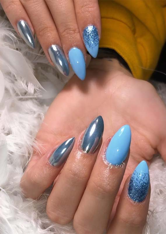 Glitter Blue Ombre Nail Designs in 2019
