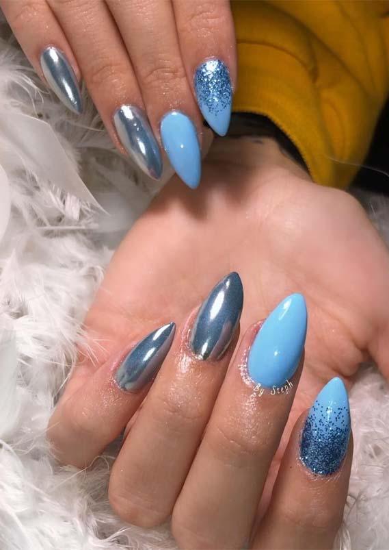 Glitter Blue Ombre Nail Designs in 2019