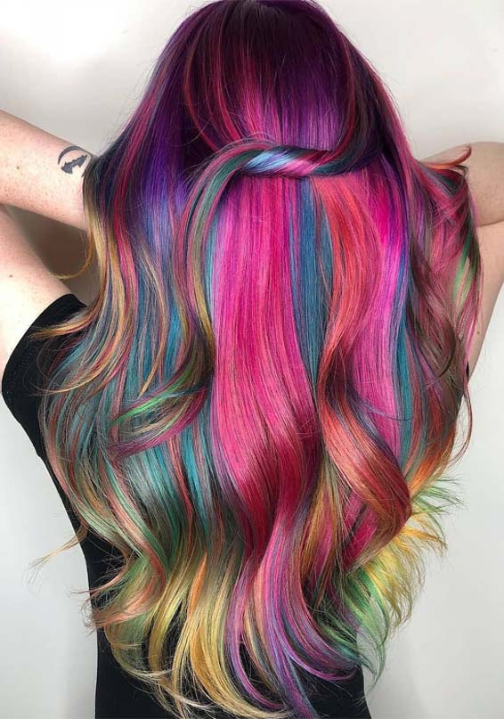 magical rainbow hair color ideas
