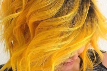 Mermaid Yellow Hair Colors for Short Curly Hair