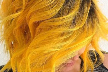Mermaid Yellow Hair Colors for Short Curly Hair