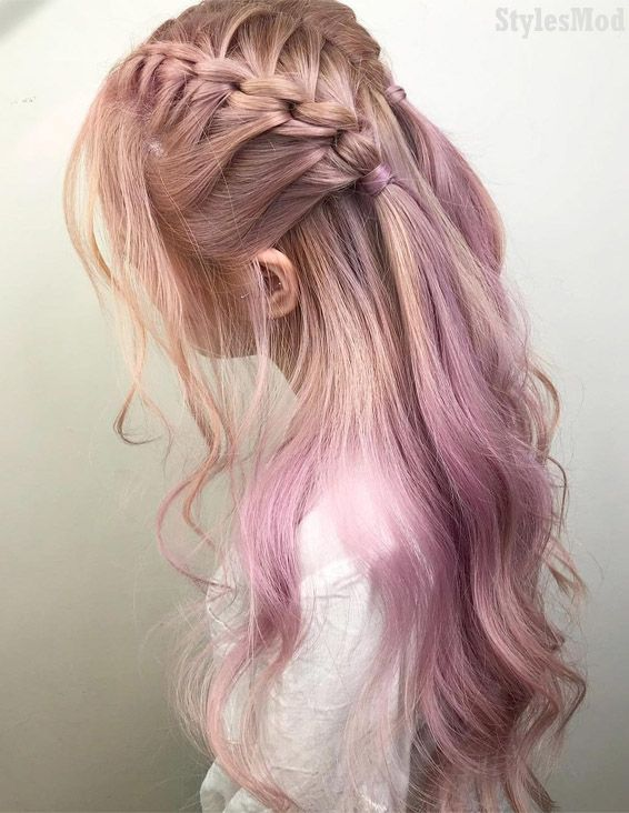 Stylish Pink Braids Hairstyles for Long Hair