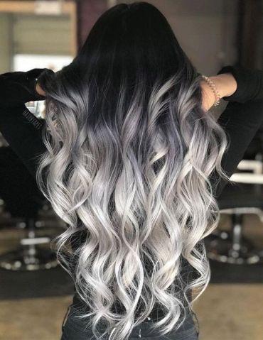 Black & Ash Blonde Hair Color Styles for Long Hair