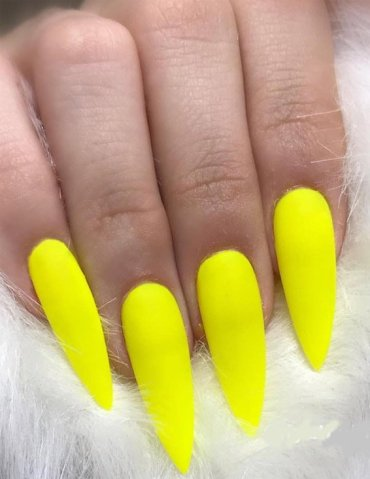 Gorgeous Yellow Long Nails Art for your Finger