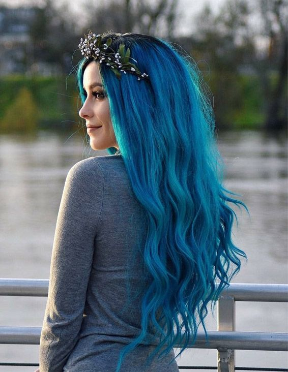 Most Popular Blue Hair Color style for Long Hair