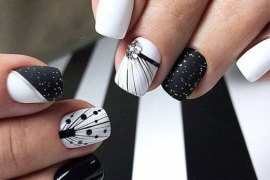 Perfect Combination of white & Black Nails Art for 2019
