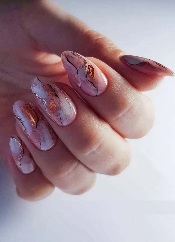 Unique Marble Affect Acrylic Nail Colors and Designs in 2019 | Stylesmod
