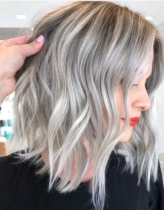Edgy Silver Hair Color Ideas for Medium Length Hair