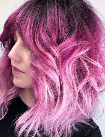 Awesome pink hiar color blends with textured ends in 2019