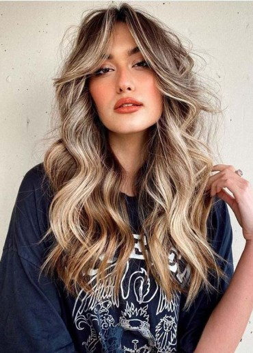 Flawless Long Hairstyles with Bangs