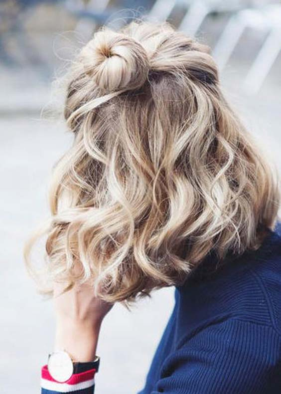 Half Bun Medium Hair