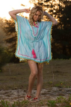 Tie Dye Pom Pom Drawstring Waist Kaftan, $48
