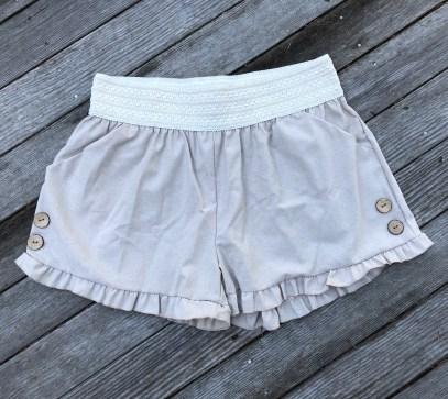 ps kate chambray ruffle hem shorts, $26