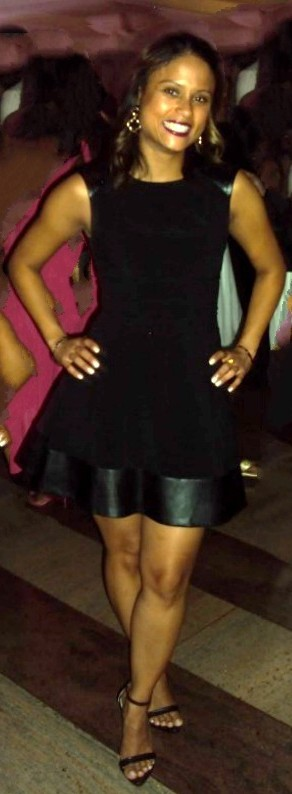Cute LBD with leather trim and open toe shoes. Beautiful smile. Stamp!
