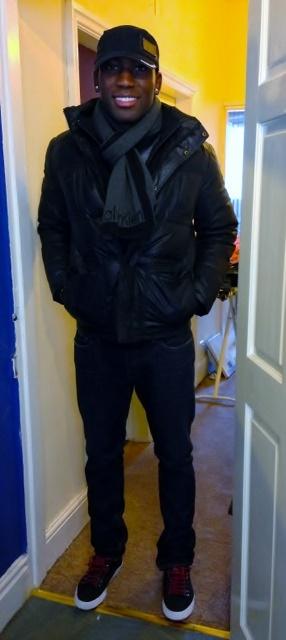 Moncler Jacket/ Armani Jeans/ Calvin Klein Scarf/ D&G Black Hat/ Rocawear Shoes