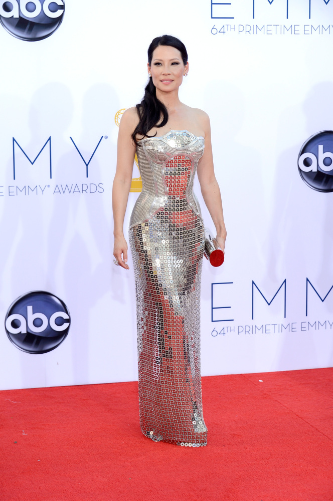 Lucy Liu in Versace (Photo: Getty Images and Huff Post Style)