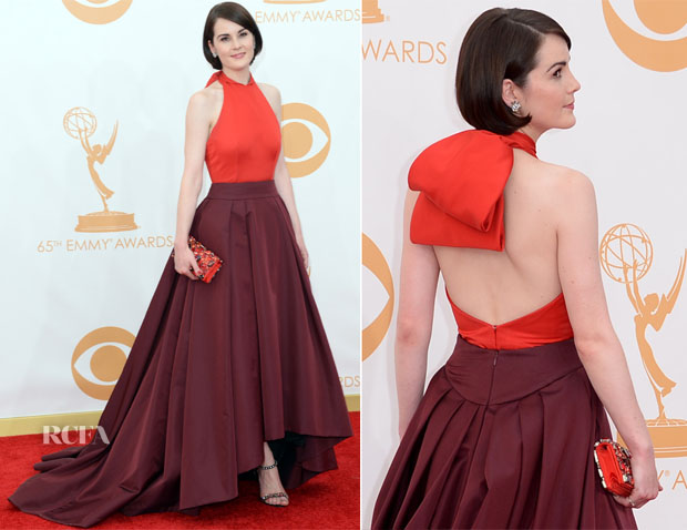 Michelle Dockery in Prada (Photo: Getty Images and Huff Post Style)