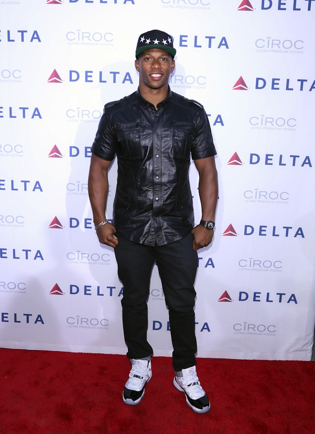 Cruz in Balmain leather shirt at Delta Airlines event