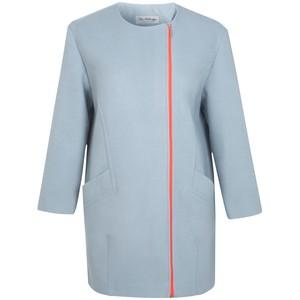 Miss Selfridge Collarless Neon Zip Coat, Blue