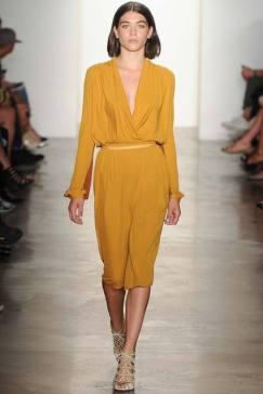 Costello K Mustard Deep V Belted Dress