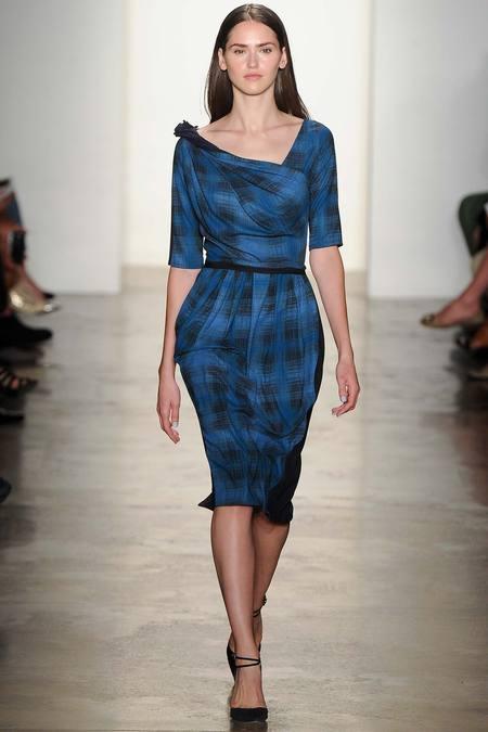 Costello K Plaid Mixed Shoulder Dress