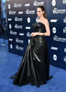 Angelina Jolie at the Maleficent Premiere in Atelier Versace
