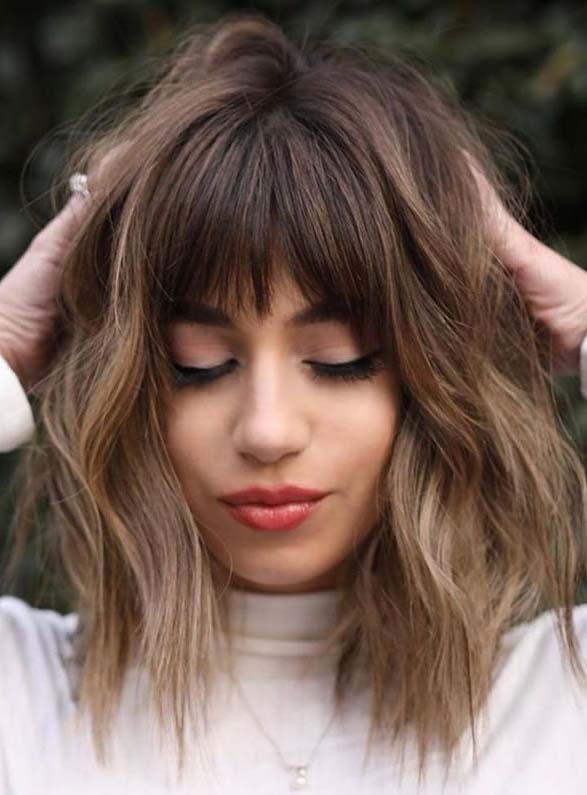 Latest Medium Textured Haircuts with Bangs