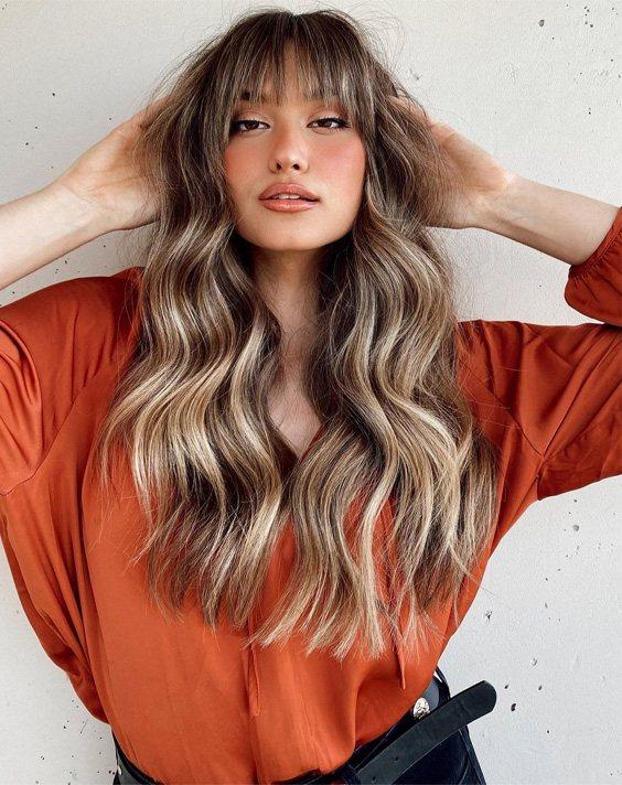 Unique Look of Curtain Bangs Hair for Long Hair
