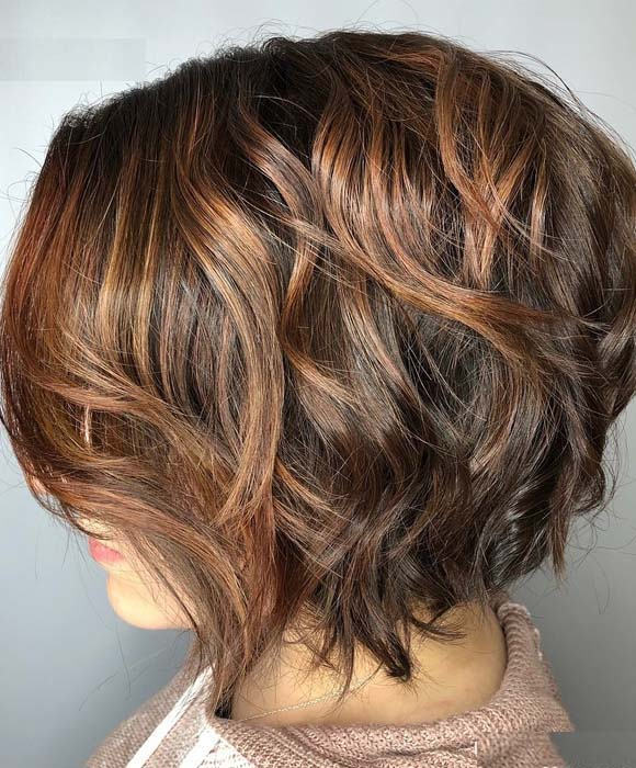 Brown Stacked Hairstyle for Bob