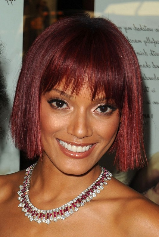Celebrity Selita Ebanks Red Blunt Bob Hairstyle With Blunt