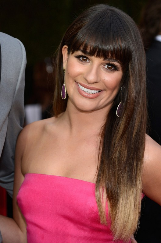 Lea Michele Long Straight Ombre Hair With Blunt Bangs