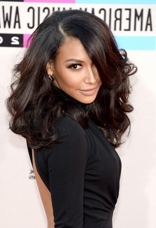 Naya Rivera Medium Dark Brown Curly Hairstyle Styles Weekly