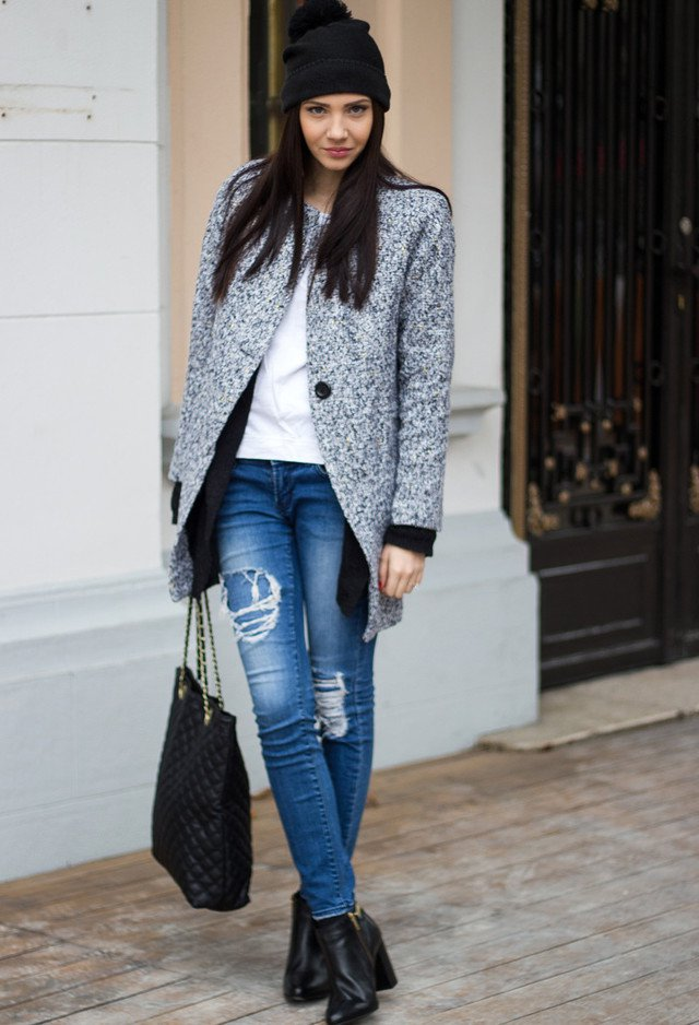 Casual Chic Tweed Coat Outfit Styles Weekly