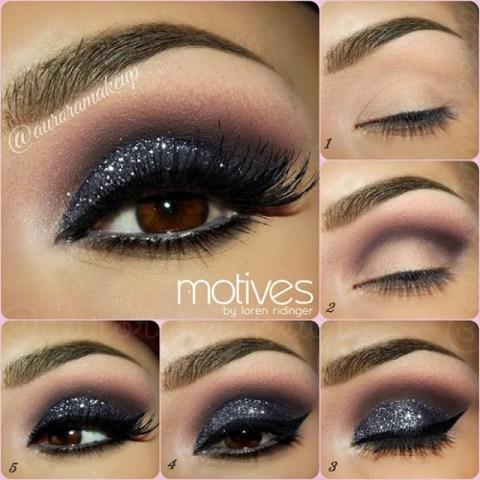 Smoky Shimmer Eye Makeup Idea
